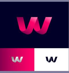 monogram w pink ribbon folded paper strip vector image