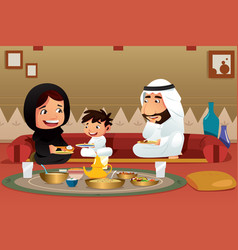 Muslim family eating at home vector