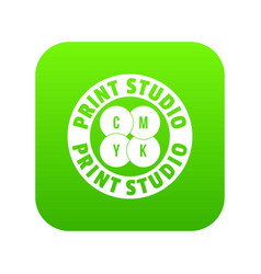 New print studio icon green vector