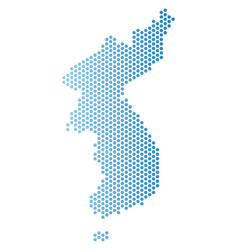 North and south korea map hex tile scheme vector