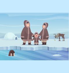 North pole background eskimo authentic people vector