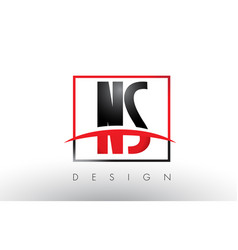 ns n s logo letters with red and black colors and vector image