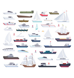 ocean ships yacht sailing boats and travel big vector image