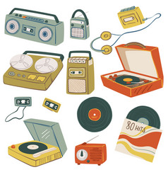 old magnetophones and tape recorders vintage vector image