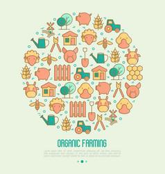 organic farming concept in circle vector image