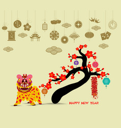 Oriental happy chinese new year 2018 blossom lion vector