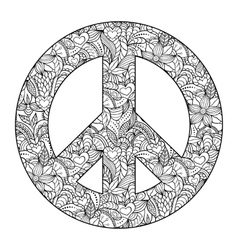 Peace symbol on black background vector