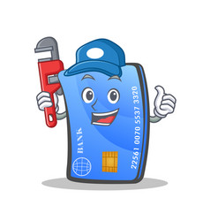 Plumber credit card character cartoon vector