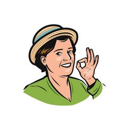 portrait happy woman in hat farmer logo vector image