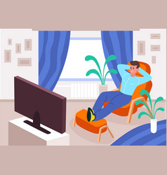 Quarantined man watches tv at home satisfied guy vector