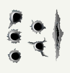 Ragged hole in metal from bullets vector