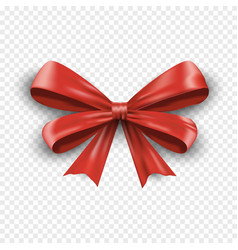 realistic red gift bow isolated on transparent vector image