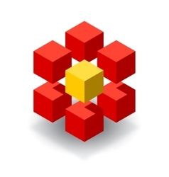 Red cube logo with yellow segments vector