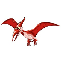 Red dinosaur flying on white vector
