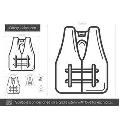 Safety jacket line icon vector