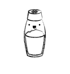 Salt container monochrome blurred kawaii vector