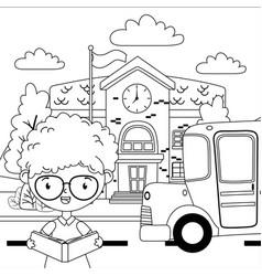 School building and boy cartoon design vector