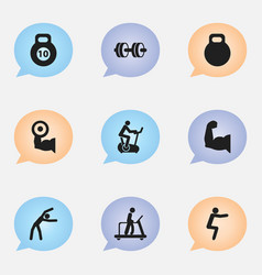 set of 9 editable exercise icons includes symbols vector image