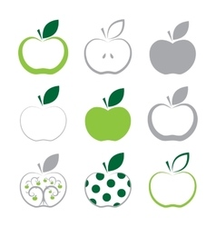 Set of apple icon isolated on white background vector