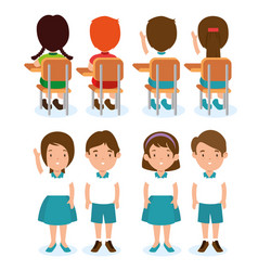 set of children student vector image