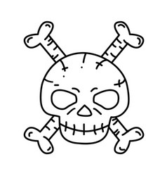 skeleton icon doodle hand drawn or black outline vector image
