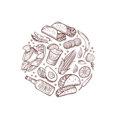 sketched mexican food elements in form vector image