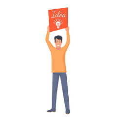 smiling male holding orange card with new idea vector image