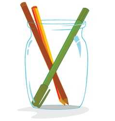 Some pencils inside glass vector