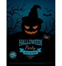 Spooky pumpkin in witch hat vector