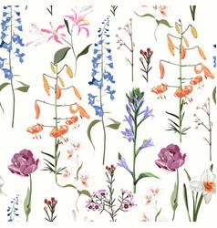 spring summer flowers vintage seamless pattern vector image