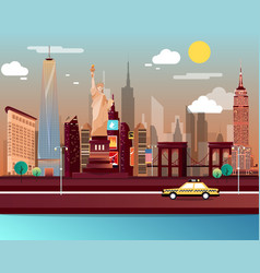 statue of liberty and landmarks in new york city vector image