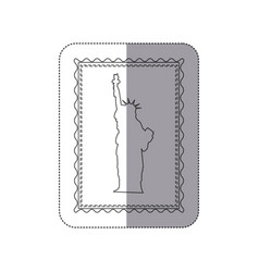 sticker monochrome contour frame of statue of vector image
