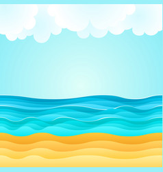 Summer beach sand sea clouds holiday tourism vector