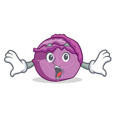 Surprised red cabbage mascot cartoon vector