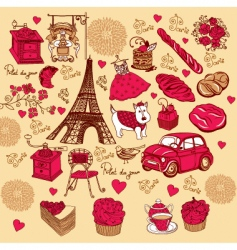 symbols of paris hand drawing vector image
