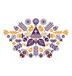 symmetrical composition of ethnic elements the vector image
