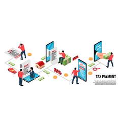 Taxes isometric infographic flowchart vector