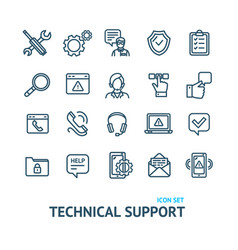 technical support signs black thin line icon set vector image