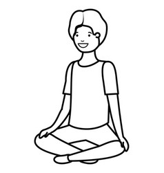 Teenager boy seated avatar character vector