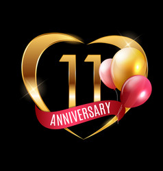 Template gold logo 11 years anniversary vector
