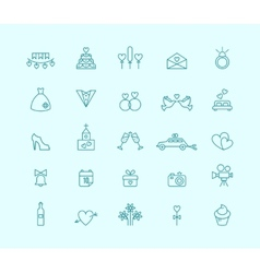 Thin line wedding icons vector