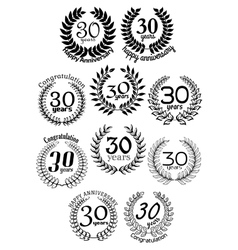 Thirty ears anniversary laurel wreaths vector
