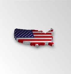 three dimensional map american in flag colors vector image