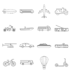 Transportation icons set outline style vector image