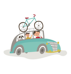 travelling car with bicycle girl driving vector image