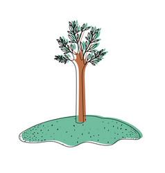 Tree in grassland in watercolor silhouette vector