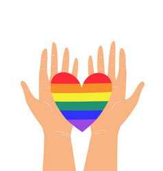 Two hands holding lgbtq rainbow heart colors vector