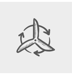 Windmill with arrow sketch icon vector