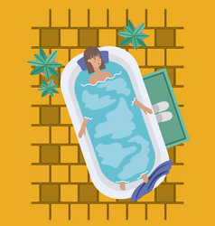 woman taking a bath tub vector image