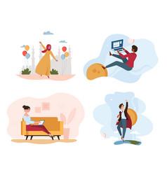 Women doing different activities vector